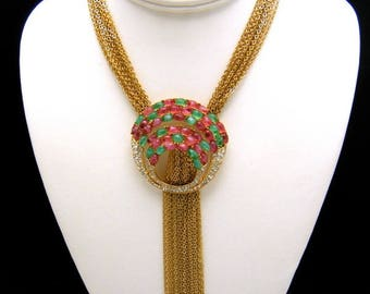 Vintage Crown Trifari Waterfall Necklace Rhinestones Glass Cabochons Book Piece