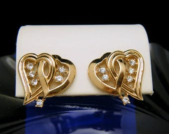Crown Trifari Earrings Rhinestones Linked Hearts Gold Tone Clip Ons