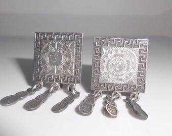 Mexican Sterling Earrings RIOS Tribal Aztec Mayan Screw Back Dangles