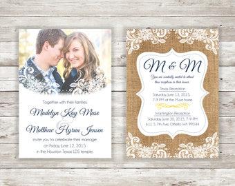 Burlap Lace Flower LDS Digital Download Wedding Invitation
