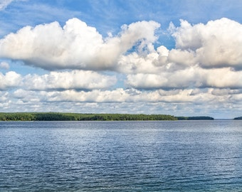 Lake Photograph, Blue Lake and Sky Fine Art Print or Canvas, Lake Scene, Blue Lake and Sky with White Clouds