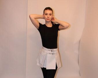 Box pleat utility Mini skirt