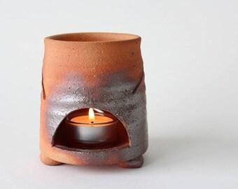 Vintage Terracotta Chimney chimenea Tealight Incense Votive Holder Signed by Artist
