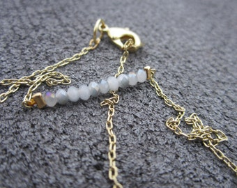 Minimalist Beaded Gold Necklace: Neutrals