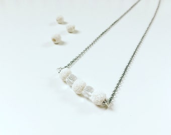 3 White Lava & Clear Necklace, Essential Oil Diffuser, Cross Bar Necklace, Clay Lava Bead, Minimalist, Modern Aromatherapy Jewelry