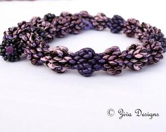 "Beadweaving necklace tutorial, superduo beading instructions, beaded choker pattern, Jewelry beadwork tutorial,Earrings bonus tutorial""Piña"""
