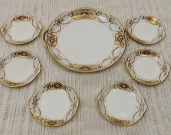 Antique Nippon Gold Leaf Bead Hand Painted Snack Set Service for 6