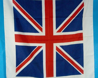 """Union Jack British Flag Scarf Vintage Made in italy Exclusive Design Polyester 26""""x 26"""""""