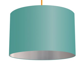 Aqua Blue Linen Fabric Drum Lampshade With Metallic Silver Effect Lining, Small Lampshade 20cm - Large Lampshade 40cm or Custom Order