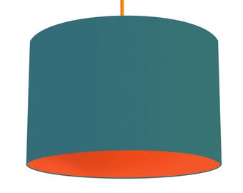 Teal Linen Fabric Drum Lampshade With Contrasting Carrot Orange Cotton Lining, Small Lampshade 20cm - Large Lampshade 40cm or Custom Size