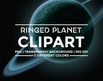 Ringed planet clipart - 3 different colors - Planets PNG clipart - Space clipart - PNG with transparent background - Digital resources