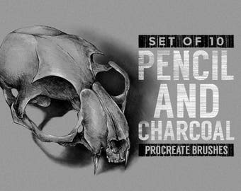 Pencil and charcoal Procreate Brushes - Sketching brushes - Set of 10 - For the iPad app Procreate - Digital brushes - Digital art resources