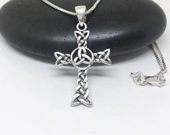 Celtic Cross Necklace Sterling Silver Celtic Pendant Triquetra Large Pendant Silver Necklace 925 Silver Celtic Trinity Knot Pendant