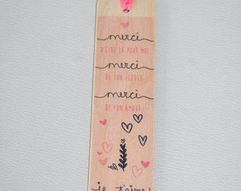 Bookmark wooden - thanks - I love you Grandma