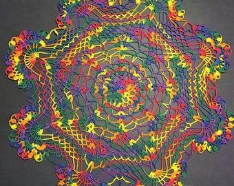 Hand Crochet 16 inch Doily/Rainbow