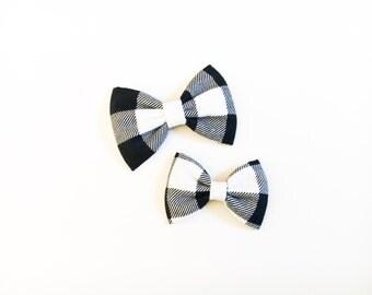 plaid bow black and white plaid buffalo plaid hair bow bow tie plaid bow tie plaid hair bow