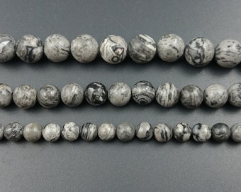 natural gray silk jasper beads, jasper stone beads, gemstone beads, round semi precious beads for jewelry making 4mm 6mm 8mm 10mm