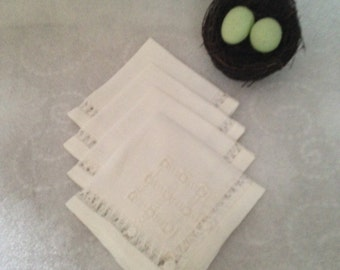 Set of 4 Hand Made Napkins White and Starched Hand Drawn Delicate Hand Work