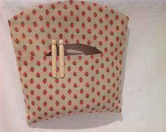 Pretty Linen Strawberry Peg Bag, Clothespin Bag, Laundry Bag