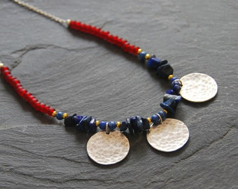 Beaded gemstone necklace, Lapis Lazuli silver necklace with hammered discs, Ethnic jewelry, Blue and red necklace, Gift for Mom, 1148