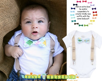 Easter Outfit Baby Boy - Tan Suspenders - Argyle Bow Tie - Blue Pink Green Yellow - Church Outfit - Easter Sunday - Baby Boy Easter Shirt