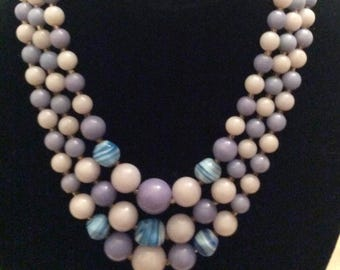 Beads, Blue and Lavender Beads, Vintage 3 Strands of Beads, 1950's Bead Necklace, White, Lavender and Blue Striated Beads