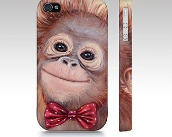 Monkey phone case, orangutan case, monkey mobile case, snap case for iPhone and Samsung Galaxy, animal device,  snap case, slim case, monkey