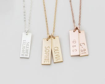 Simple Personalized Tag Necklace / Small Tags Necklace / Engraved Delicate Rose Gold Necklace, 14K Gold Fill, Sterling Silver  LN155_16_V