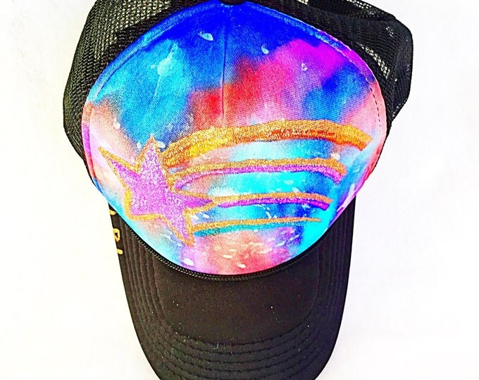 FLASH SALE! Space Galaxy Shooting Star Hand Painted Sparkly Metallic Trucker Hat, Spacey Galactic Rainbow Glitter Star Watercolor Rave