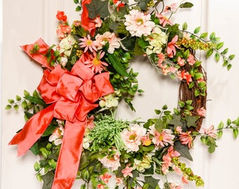 Grapevine Wreath // Peach Blossom Wreath // Spring Wreath // Spring & Summer Wreath // Country Wreath // Garden Wreath // Rustic Garden