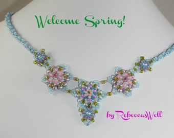 Welcome Spring! -A delicate, light, hand bead woven necklace