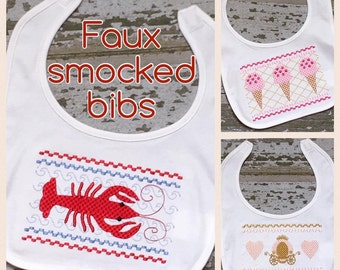 Crawfish Bib, Ice Cream Bib, Princess Carriage Bib, Faux Smocked Bibs