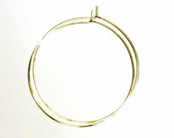 Solid 18K GOLD Hoops - Thin Threads of Gold - Fine Hoop - Handcrafted - Minimal design