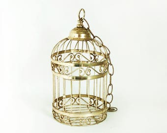 Vintage Hanging Decorative Birdcage, Gold Tone Bird Cage Plant Holder with Chain, Perfect for Upcycling