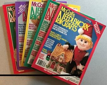 Lot of 5 Vintage McCall's Needlework & Crafts Magazines, 1982-1989