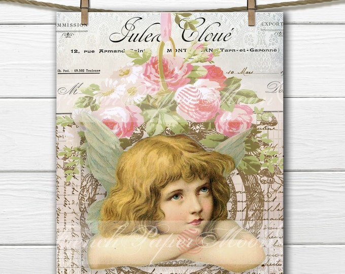 Digital Shabby Chic Angel, Roses, Floral Wreath Angel, Angel with Roses, French Pillow Digital Image Graphic Transfer Download