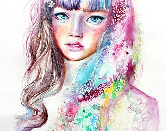 Watercolor Print. Wall art portrait of beautiful girl whit flowers in her hair. Digital print. Colorful portrait painting.
