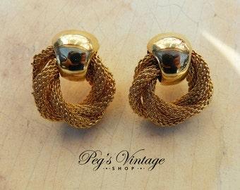 Vintage Goldstone Mesh Hoop Earrings /Door Knocker Round Pierced Earrings
