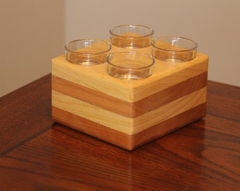 Handmade Wooden Quad Tea-Lite Candle Holder Made With Multiple Woods.