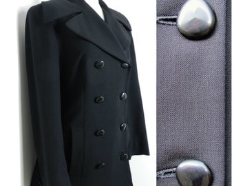 80's WOOL black double breasted peacoat MASSIVE lapels u.k. 14 - 16 M ~ L