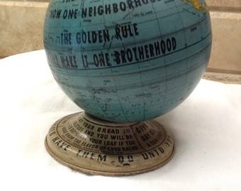 """Very Rare Old """"The Golden Rule Foundation Globe with cap and key"""