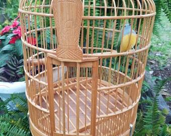 Large Wooden Bamboo Birdcage - Bird Cage - Hanging Bird Cage - Oriental