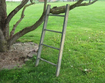 "Vintage Wooden Ladder Section, Original Green Paint, 46""L, 4 round rungs,  lot # 20"