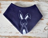Baby Bib - Organic Cotton Jersey - Dark Navy Blue with White Bunny Print - Theeting Bandana - for Toddler or Baby - Adjustable Snaps