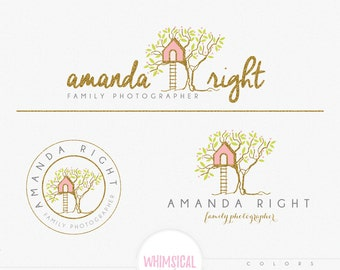 Cute Treehouse Logo 5 - Premade Photography Logo and Watermark, Classic Elegant Script Font GOLD GLITTER TREE childrenCalligraphy Logo