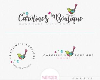 Cute Little Bird- Whimsical happy bird singing - cute children's boutique Logo - handmade products logo -  handmade natural products logo