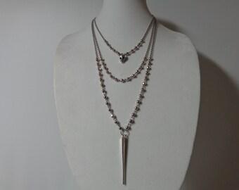 Long Boho Necklace, Long Silver Pendant Necklace, Long Boho Pendant Necklace, Long Beaded Chain Necklace, Long Boho Spike Necklace