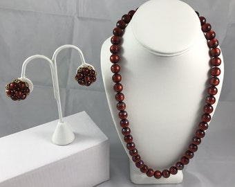 Cranberry Bead Necklace & Cluster Clip Earrings, ca. 1960 vintage
