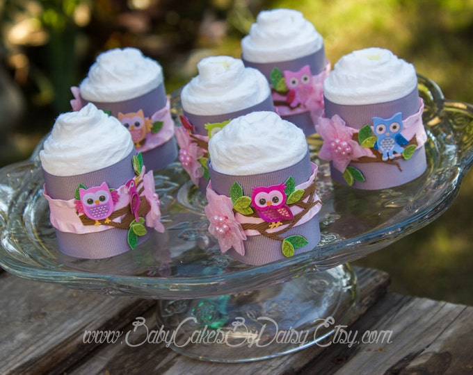 Featured listing image: Owl Baby Shower Diaper Cakes, Owl Diaper Cake Cupcake Favors, Owl Baby Shower Favors