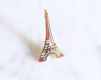 tour eiffel épingle, gold enamel pin, pins, broche